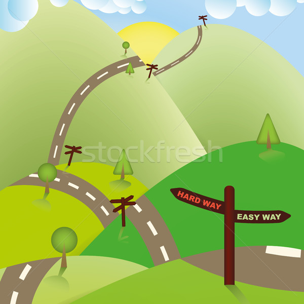 Road Sign Ways, Hard or Easy. Business Concept. Stock photo © Luppload