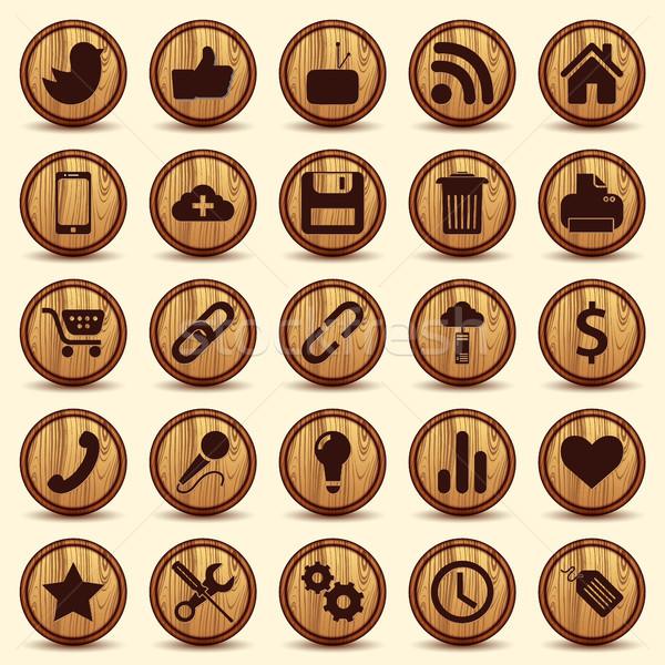 Sociale icone wood texture pulsanti set illustrato Foto d'archivio © Luppload