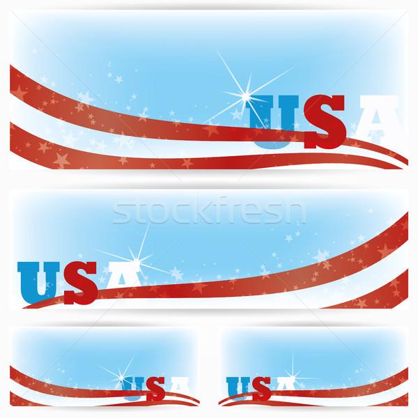 Баннеры США флагами брошюра текста пространстве Сток-фото © Luppload