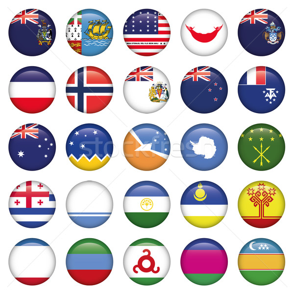 Antarctic and Russian Flags Round Buttons Stock photo © Luppload
