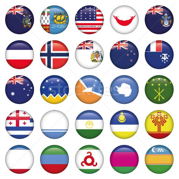 Foto stock: Russo · bandeiras · botões · jpg · illustrator · eps10