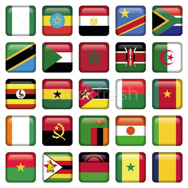 африканских флагами квадратный иконки jpg иллюстратор Сток-фото © Luppload