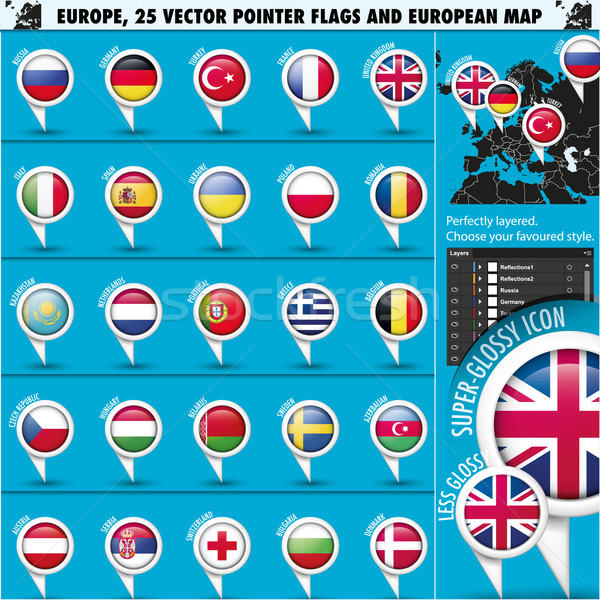 Europeo iconos banderas mapa ue Foto stock © Luppload
