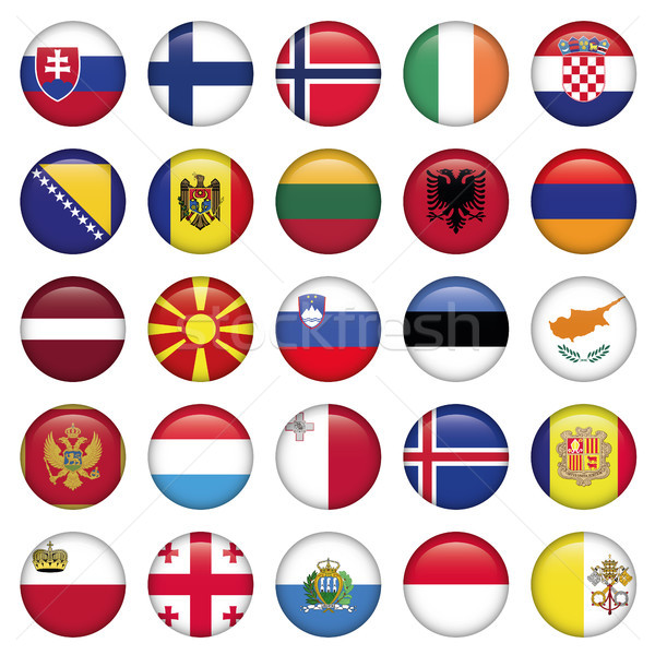 Europese knoppen vlaggen jpg illustrator eps10 Stockfoto © Luppload
