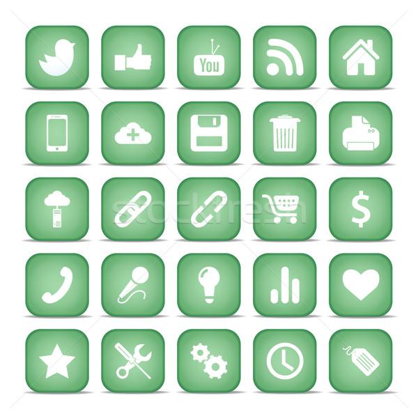 Iletişim simgeler web ayarlamak Internet toplama Stok fotoğraf © Luppload