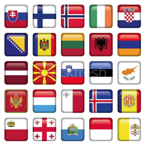 Europa knoppen vierkante vlaggen jpg illustrator Stockfoto © Luppload