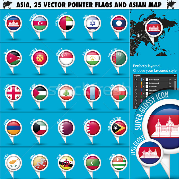 Asia Map and flags Pointer Icons set2 Stock photo © Luppload