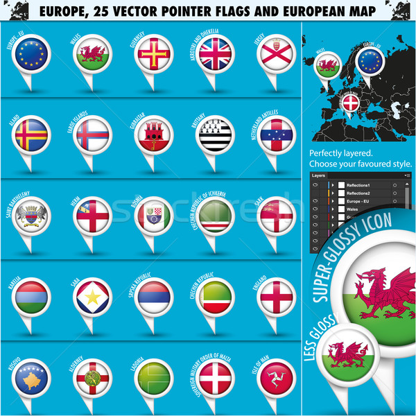 European Icons Round Indicator Flags and Map Set3. Stock photo © Luppload