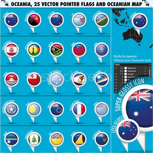 австралийский Океания флаг карта набор географический Сток-фото © Luppload