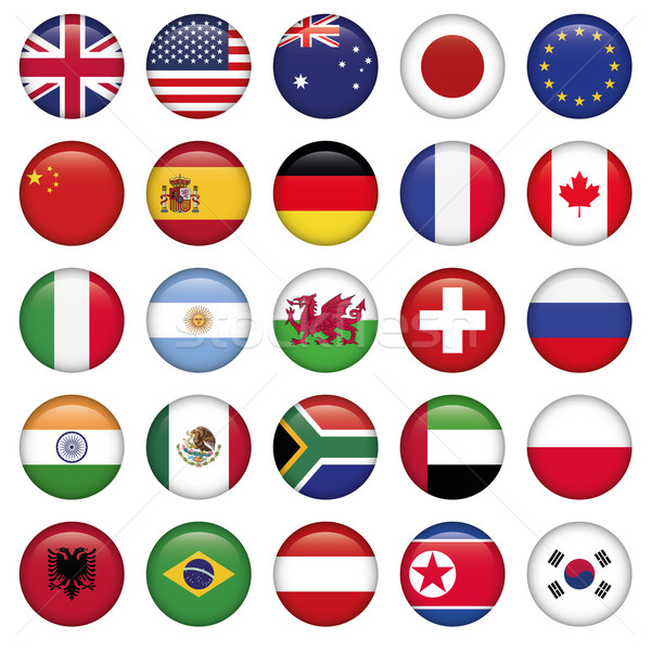 Stock photo: Set of Round Flags world top states