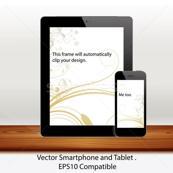 Vektor táblagép mobiltelefon fehér okostelefon illusztrált Stock fotó © Luppload