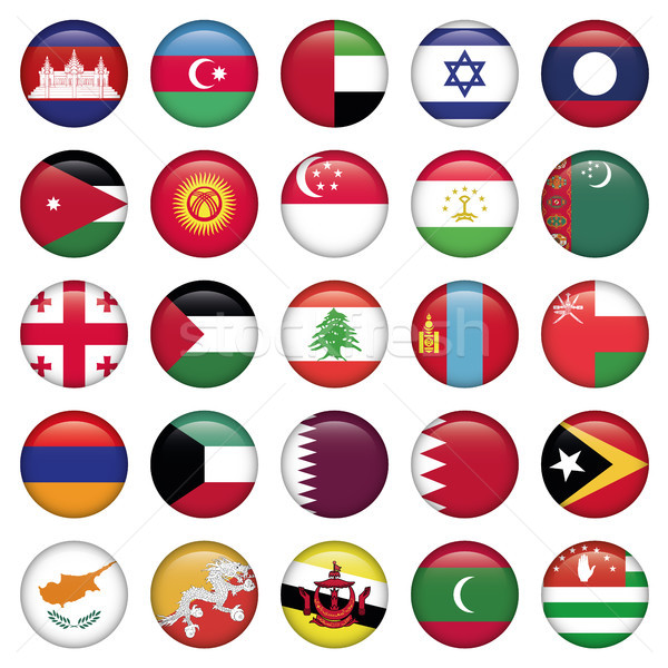 Asiatic Flags Round Buttons Stock photo © Luppload