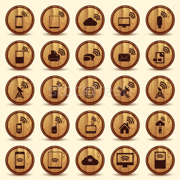 Wood WiFi icons. Mobile and wireless Buttons. Stock photo © Luppload