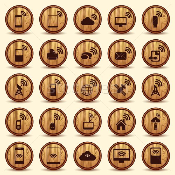 Hout wifi iconen mobiele draadloze knoppen Stockfoto © Luppload