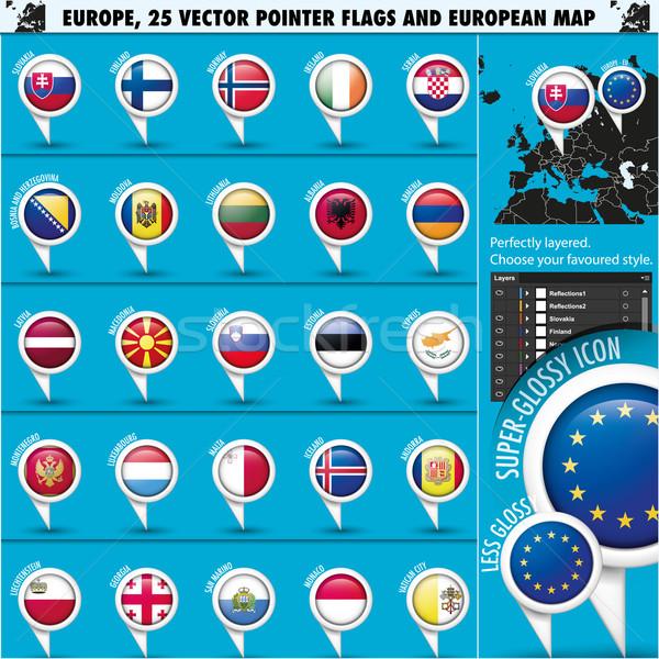 Europese iconen vlaggen kaart eu Stockfoto © Luppload
