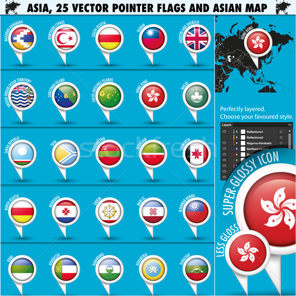 Asia Map and flags Pointer Icons set3 Stock photo © Luppload