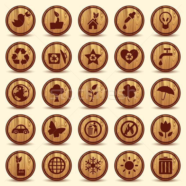 Fa ökológia ikon szett zöld környezet szimbólumok Stock fotó © Luppload