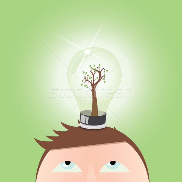 думать зеленый дерево jpg иллюстратор Сток-фото © Luppload