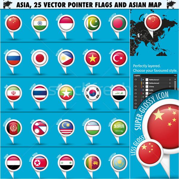 Foto stock: Ásia · mapa · bandeiras · ícones · globo