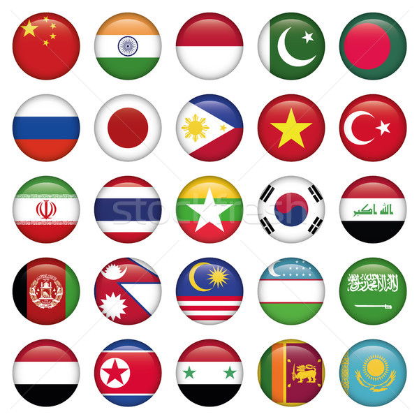 Asiatic Flags Round Icons Stock photo © Luppload
