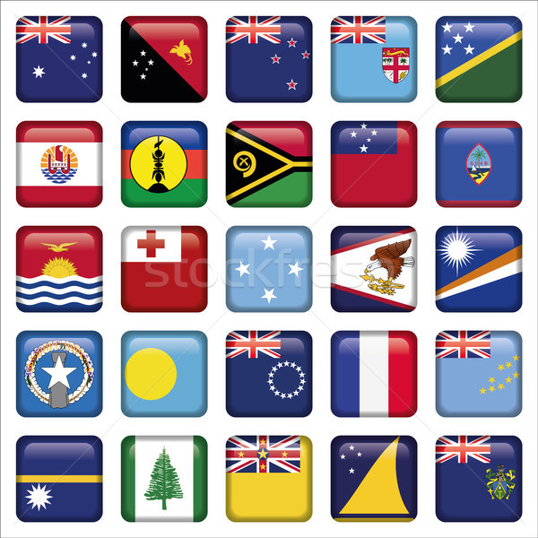 Szett ausztrál Óceánia zászló ikon szett ikonok Stock fotó © Luppload
