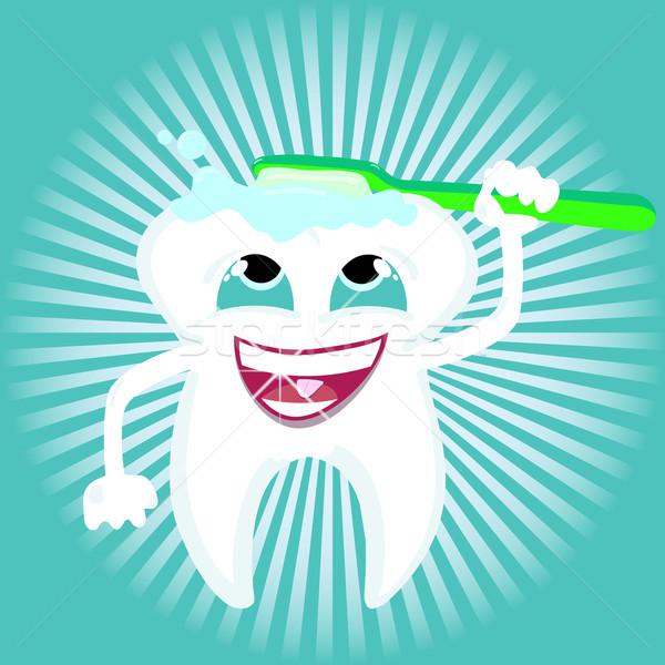 Fog fogápolás egészség vektor takarítás fogkefe Stock fotó © Luppload