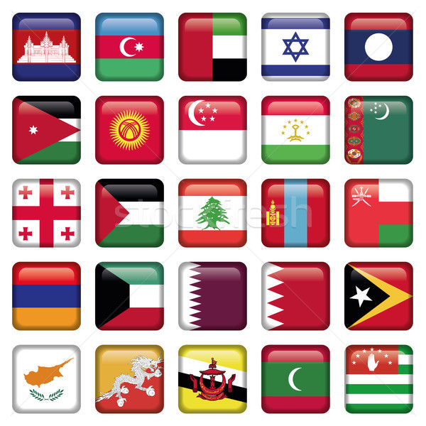 Asia Flags Square Buttons Stock photo © Luppload