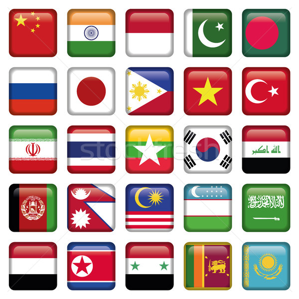 Asia Flags Square Icons Stock photo © Luppload