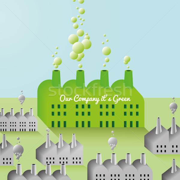 Zöld cég gyár absztrakt jpg illustrator Stock fotó © Luppload