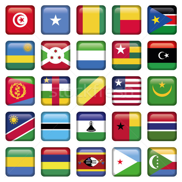 Africa Flags Square Buttons Stock photo © Luppload