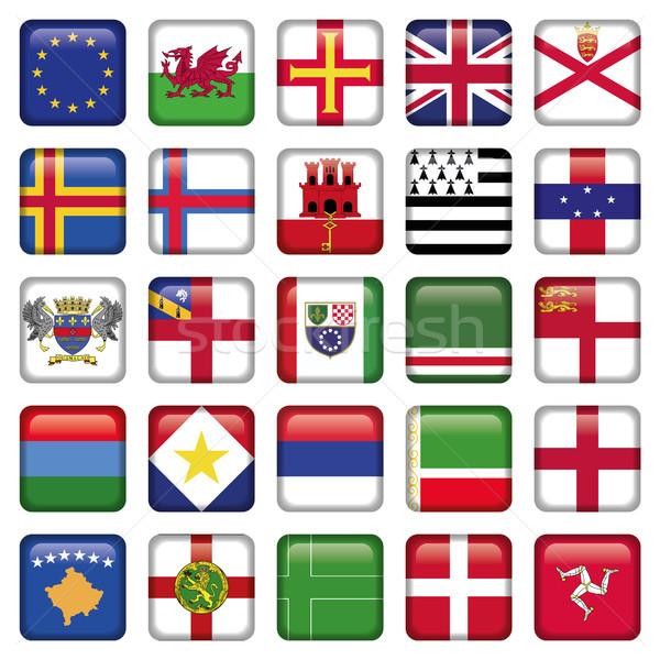 Szett európai tér zászló ikon szett ikonok Stock fotó © Luppload