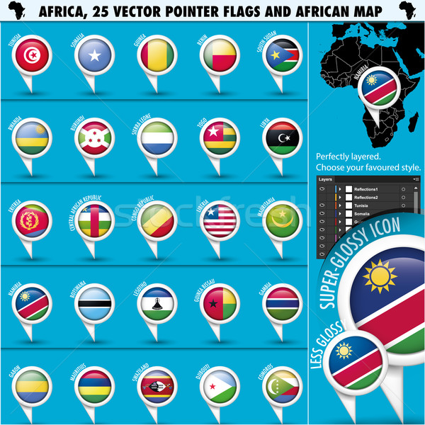Stock photo: Africa Pointer Flag Icons with african Map set2
