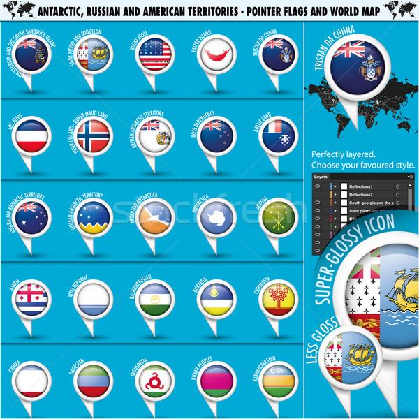 Stock fotó: Oroszország · Amerika · zászló · zászlók · világtérkép · szett