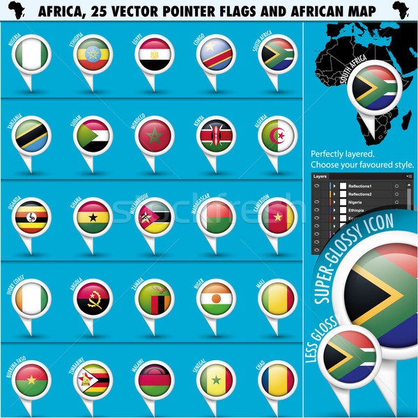 Africa Pointer Flag Icons with african Map set1 Stock photo © Luppload