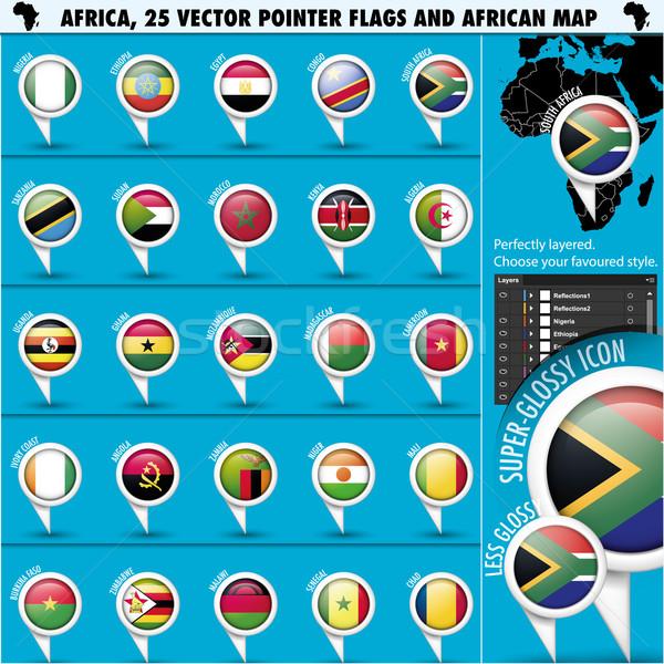Afrika zászló ikonok afrikai térkép eps10 Stock fotó © Luppload