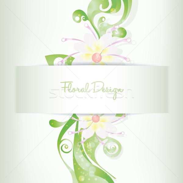 Vektor virágmintás kártya meghívó virágzó virágok Stock fotó © Luppload
