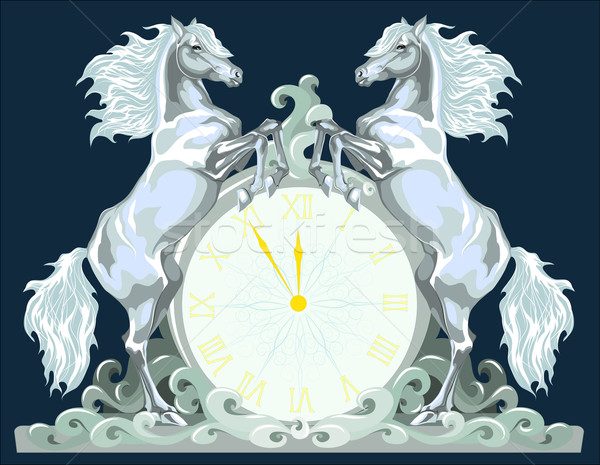 New Year clock with two horses, 5 minutes to 12. Stock photo © LVJONOK