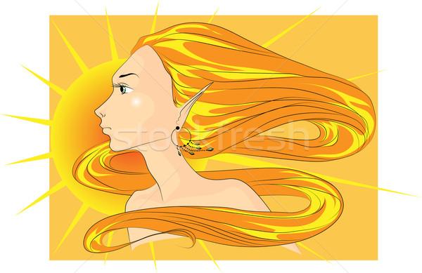 Női arc tavasz arc fiatal nő hosszú narancs Stock fotó © LVJONOK
