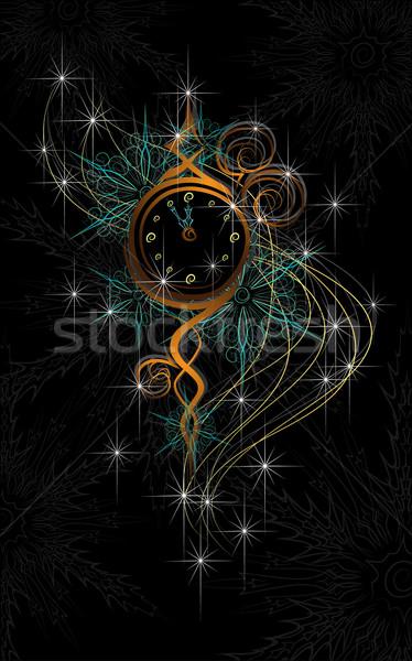 Año nuevo reloj 12 negro blanco Foto stock © LVJONOK