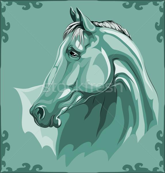 Paard hoofd vector afbeelding Blauw boerderij Stockfoto © LVJONOK
