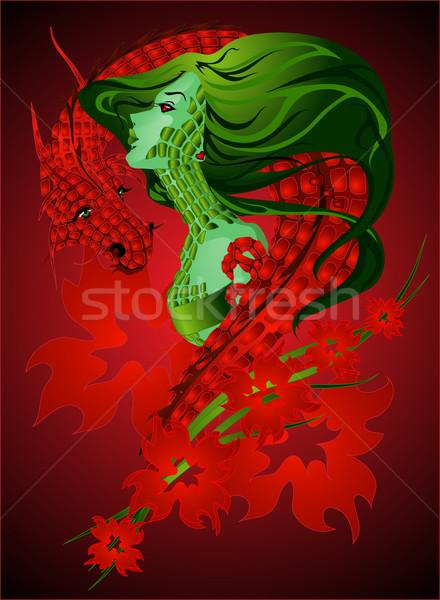 Lány sárkány piros hullámok körül zöld Stock fotó © LVJONOK