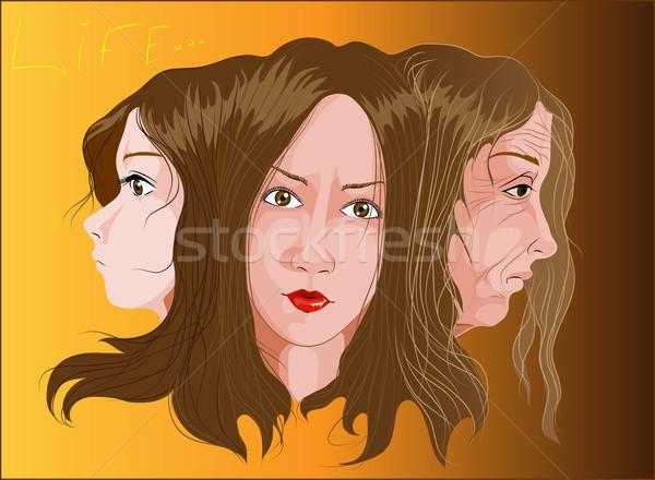 élet vektor öregedés folyamat három arcok Stock fotó © LVJONOK
