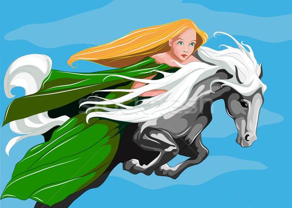 ストックフォト: 王女 · 空 · 若い女性 · ライディング · 白馬 · 目