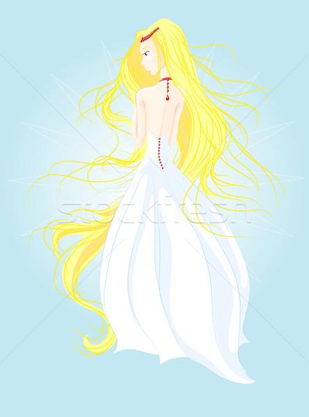 Menyasszony boldog haj háttér hát fehér Stock fotó © LVJONOK