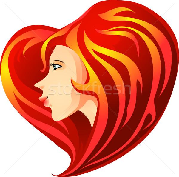 Valentin nap lány portré vektor aranyos piros Stock fotó © LVJONOK