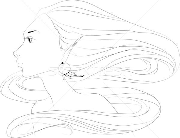 Női arc egyszerű vektor kép nő fej Stock fotó © LVJONOK