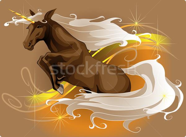 Ugrik ló fekete sziluett öröm boldogság Stock fotó © LVJONOK