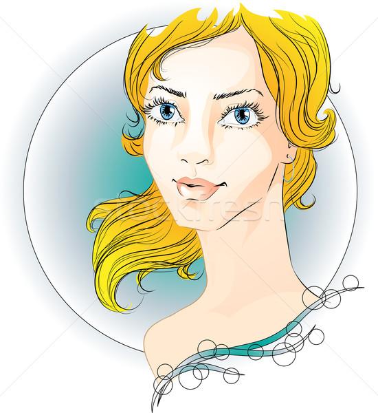 Portré gyönyörű nő vektor kép fiatal nő gyönyörű Stock fotó © LVJONOK