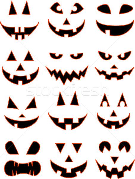 Halloween mosoly vektor kép 12 halloween tök Stock fotó © LVJONOK