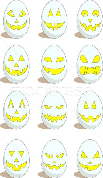 Szett 12 vicces tojások húsvét vektor Stock fotó © LVJONOK